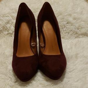 Suede burgundy heels